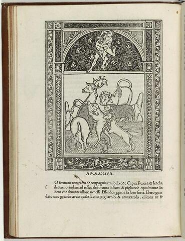 Fable du lion allant à la chasse avec un agneau, une chèvre et un boeuf
