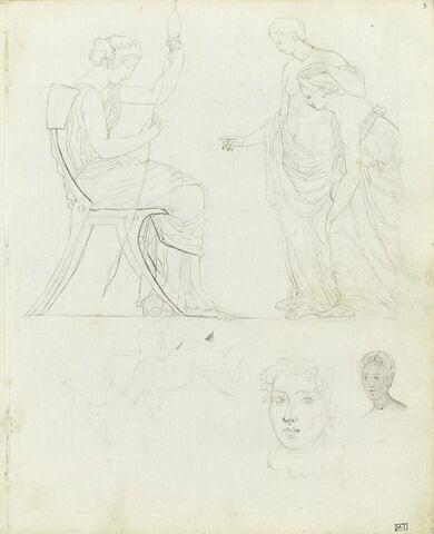 Figures d'après un vase antique grec ? et visage de femme (Victorine Frémiet ?)