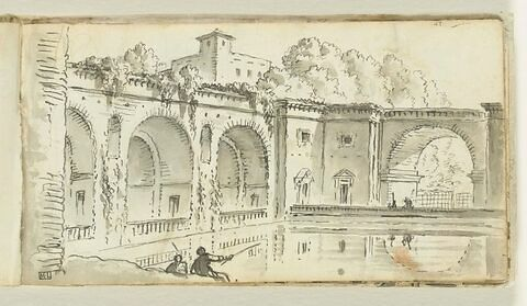 Vue d'un bassin dans le parc d'un palais