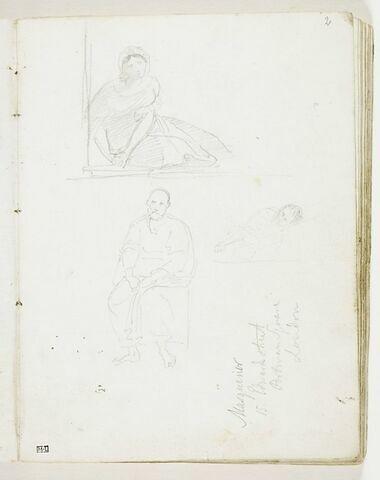 Trois études de figures : femme assise sur le sol, se lavant les mains dans un bassin ; vieillard assis, drapé à l'antique ; homme allongé, bras croisés, à mi-corps