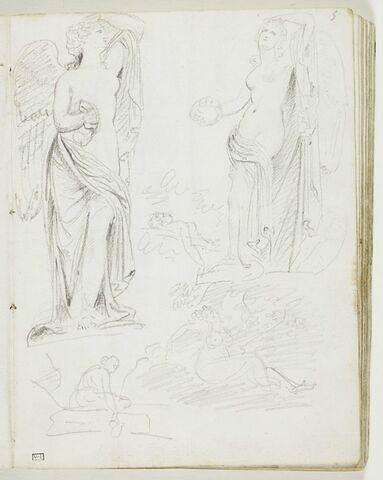 Deux études d'une Victoire ailée, debout, appuyée à un tronc d'arbre et tenant une couronne dans la main droite ; trois petits croquis de figures féminines, dont deux nues et la troisième, assise, puisant de l'eau