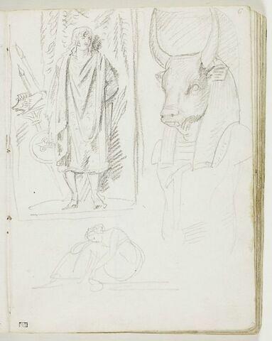 Étude d'après l'antique : figure d'homme debout, drapé, avec bouclier, enseigne au sanglier, lances ; figure de dieu égyptien à tête de taureau : 'Apis' ; croquis de figure féminine assise, la tête sur les genoux