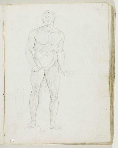 Homme nu, debout, de face, un glaive dans la main droite, reprise de sa jambe droite