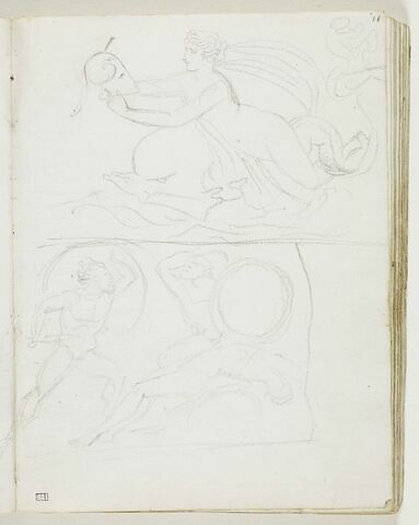 Figure féminine nue, à l'antique, montée sur un dauphin et portant le casque d'un guerrier grec ; deux guerriers grecs combattant auprès du cadavre d'un troisième