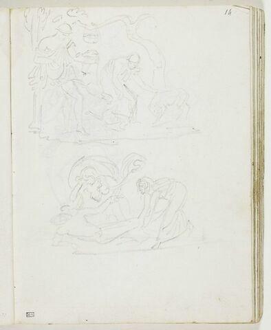 Deux figures d'hommes vêtus à l'antique jouant avec des chiens ; deux figures féminines drapées à l'antique auprès du corps d'un homme blessé ou mort