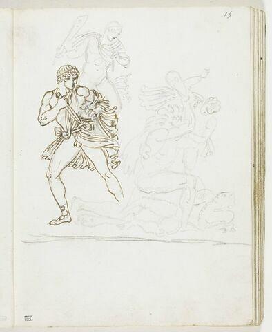 Cinq figures d'hommes vêtus à l'antique, dont un tient une massue, un autre assomme un homme à l'aide d'une massue et un quatrième se retourne en dégainant ou en rengainant son glaive