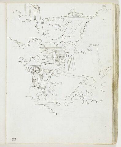 Vallée dominée par un bastion, traversée par un torrent à double cascade longeant un chemin qui serpente