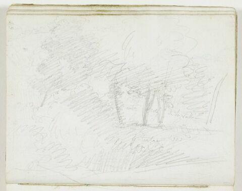 Croquis d'un paysage avec des arbres au pied d'un coteau