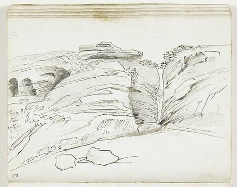 Étude de paysage avec défilé étroit entre des rochers