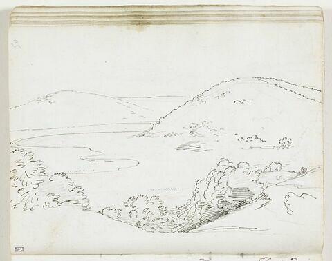 Vue du lac de Vico avec un personnage à cheval à l'arrière-plan, à droite