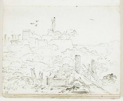 Vue d'une ville sur une hauteur avec ruines antiques et médiévales, corbeaux, nécropole, ossements, loup et personnage fuyant à cheval