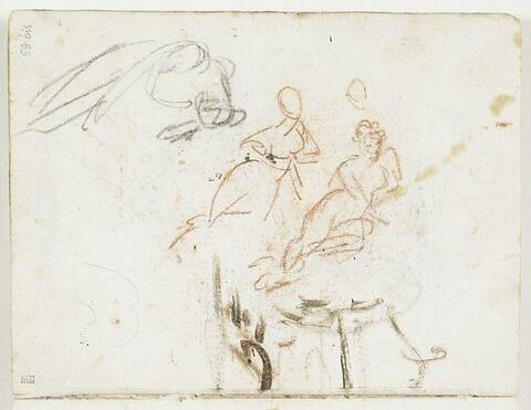 Deux esquisses d'une figure féminine, dont une nue à demi allongée, et croquis d'une troisième figure, allongée sur un flanc, la tête renversée en avant