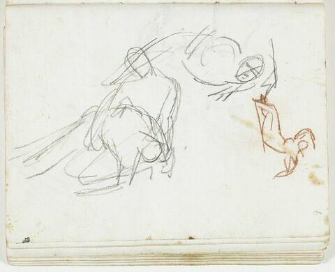 Esquisse d'un personnage agenouillé tenant sur ses jambes un corps inanimé et de deux autres figures, l'une allongée sur le flanc, la tête posée sur le bras gauche, l'autre nue, à demi allongée
