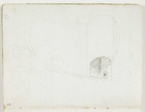 Esquisse d'une figure portant un objet ; perspective d'un édifice avec une fenêtre sous une arcade (dessinée transversalement)