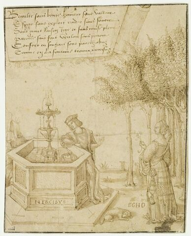 Narcisse, épié par Écho, se mirant dans la Fontaine d'Amour
