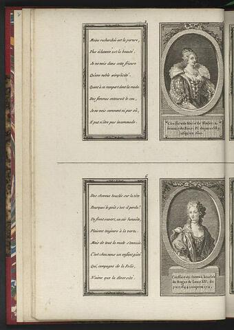 Coëffure de Marie de Medicis, femme de Henri IV, depuis 1589 jusqu'en 1610. / Coëffure en cheveux bouclés du Regne de Louis XIV, depuis 1644 jusqu'en 1711