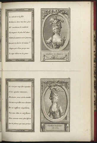 Coeffure en plumes en 1774. / Coeffure en plumes en 1774