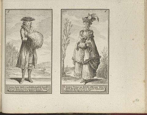 Jeune Petit-Maître en Pelisse doublée de poil dite Vitchoura, avec un manchon de loup et un chapeau à la Hneri Quatre. / Jeune Dame en Pelisse d'Hyver doublée de poil, et vétue d'une Polonaise bordée en tigré, en 1778.