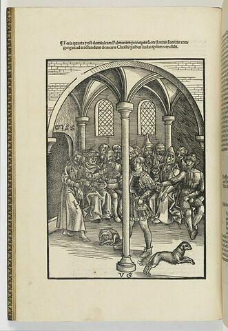 Judas reçoit trente pièces d'argent pour vendre Jésus