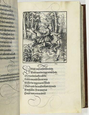 33. Bedewt ein unnatürlichen pferds sprung den Tewrdanck auf dem fortz geieid im Brabanndischen wald zugestanden.