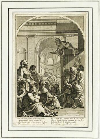 La vie de Saint Bruno, fondateur de l'ordre des Chartreux  : Saint Bruno assiste à un sermon de Raymond Diocrès (planche numérotée 1)