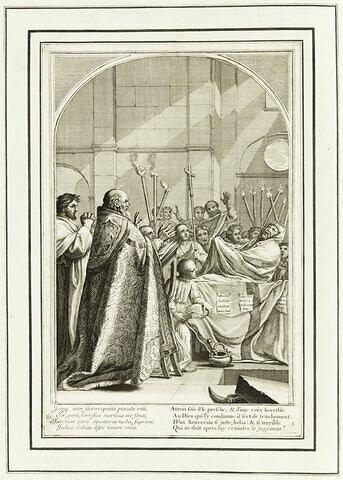 La vie de Saint Bruno, fondateur de l'ordre des Chartreux : Raymond Diocrès parlant pendant ses funérailles (planche numérotée 3)