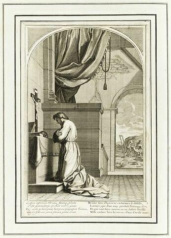 La vie de Saint Bruno, fondateur de l'ordre des Chartreux : Saint Bruno agenouillé et priant devant un crucifix tandis qu'à l'arrière-plan deux hommes enterrent Raymond Diocrès (planche numérotée 4)