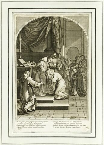 La vie de Saint Bruno, fondateur de l'ordre des Chartreux : Saint Bruno donne l'habit à plusieurs novices (planche numérotée 14)