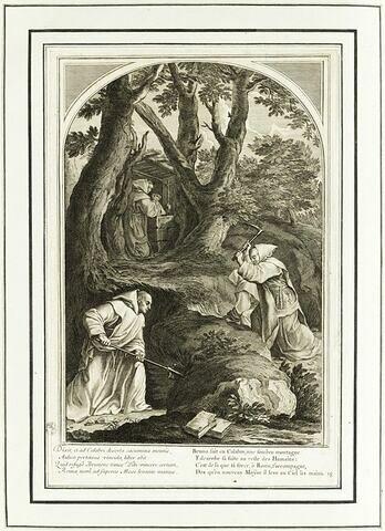 La vie de Saint Bruno, fondateur de l'ordre des Chartreux : Saint Bruno en prière dans son ermitage de Calabre (planche numérotée 18)