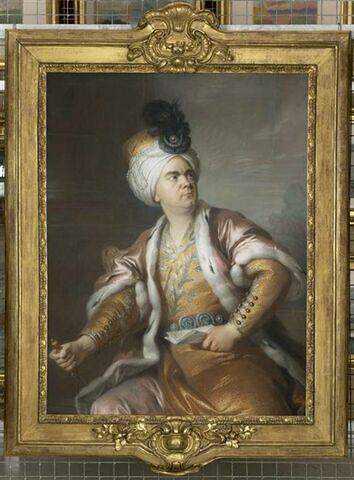 Portrait de l'acteur Henri-Louis Caïn, dit Lekain (1728/29-1778), dans le rôle d'Orosmane dans la tragédie de Voltaire, Zaïre.