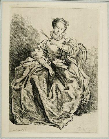 Jeune femme assise vêtue à l'Espagnole