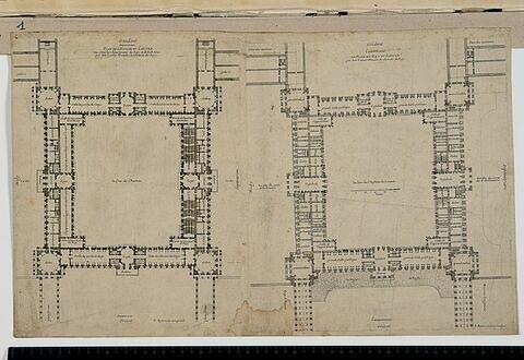 Projet pour le Louvre. Plan du rez-de-chaussée et du premier étage des bâtiments de la Cour carrée vers 1661