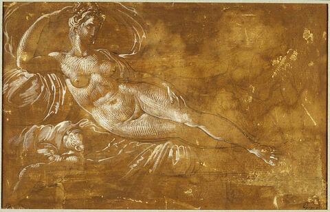 Étude de femme nue allongée (Danaé?) avec, auprès d'elle, l'Amour et une servante