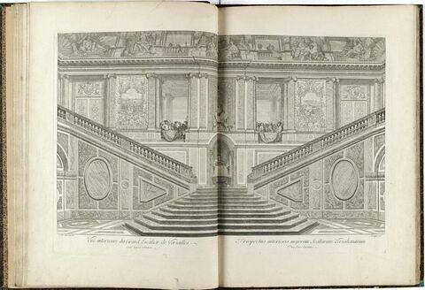 Vue intérieure du Grand Escalier de Versailles, côté opposé à l'entrée