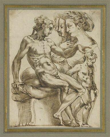 Feuille d'études : figure masculine nue assise, pointant du doigt, groupe de trois profils féminins et figure en pied s'appuyant sur un bâton