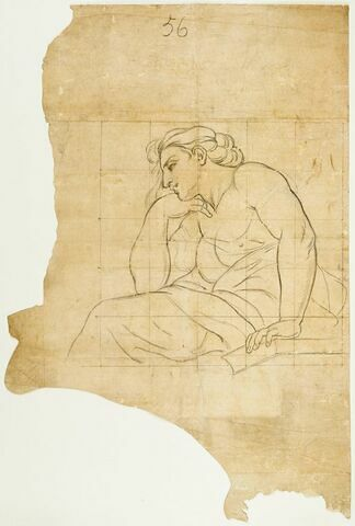 Femme assise, de profil vers la gauche. Etude pour Téthys accablée sous le joug hollandais