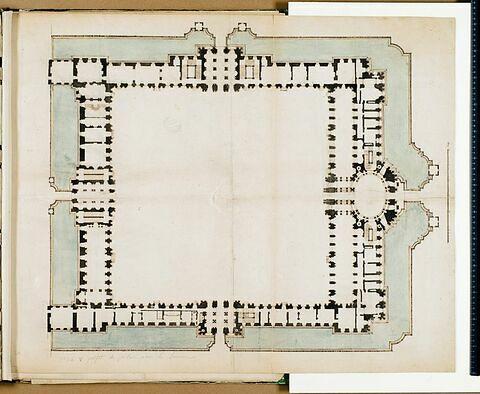 Projet pour le Louvre. Plan du rez-de-chaussée pour les bâtiments de la Cour Carrée (quatrième projet) vers 1663