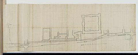 Plan de l'approvisionnement en eau du bassin des Tuileries à partir de la fontaine de la Samaritaine au Pont Neuf