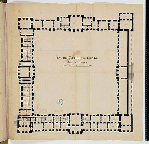 Plan de l'attique des bâtiments de la Cour Carrée du Louvre avec les entresols