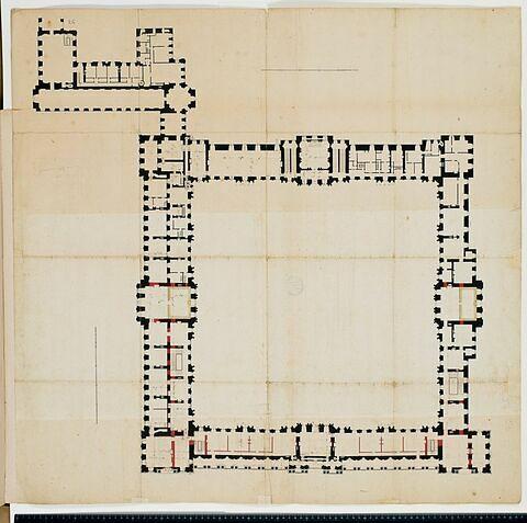 Plan du premier étage des bâtiments de la Cour carrée du louvre et autour de la petite Galerie