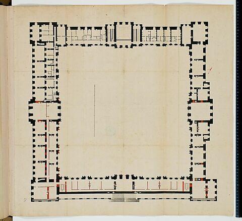 Plan de l'attique des bâtiments de la Cour Carrée du Louvre avec aménagement de l'attique de la Colonnade