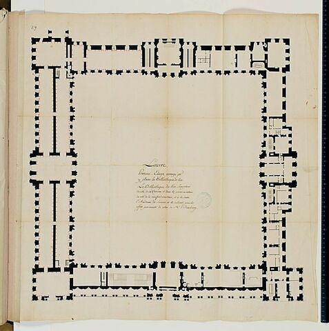 Projet de la Bibliothèque du Roi au Louvre. Plan du premier étage des bâtiments de la Cour Carrée