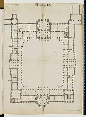 Projet pour le Louvre. Plan du rez-de-chaussée pour les bâtiments de la Cour Carrée, 1664