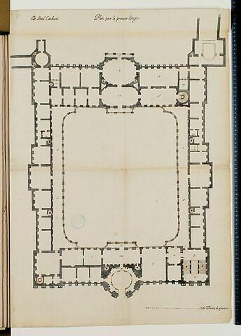 Projet pour le Louvre. Plan du premier étage pour les bâtiments de la Cour Carrée, 1664