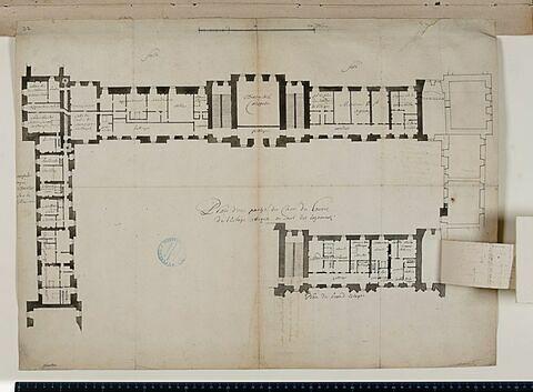 """Plan du """"Grand estage"""" des bâtiments de l'aile occidentale et de la partie ouest de l'aile sud de la Cour Carrée du Louvre, avec l'indication des logements des personnages de la cour, vers 1677"""