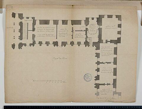 Plan du rez-de-chaussée des appartements de l'Académie française et des pièces attenant de l'aile nord de la Cour Carrée du Louvre, 1692
