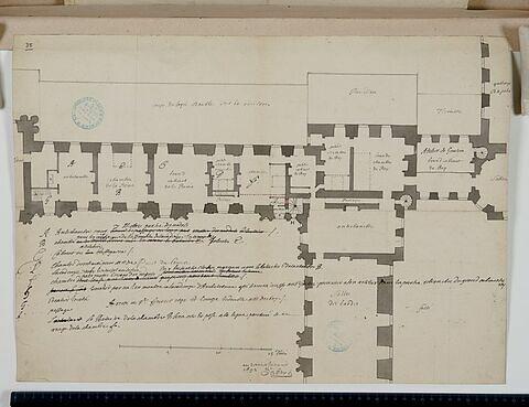Plan du premier étage des bâtiments de l'angle sud-ouest de la Cour Carrée du Louvre, 1692
