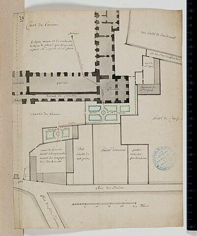 Projet d'alimentation d'une fontaine dans la Cour Carrée du Louvre