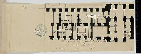 Plan du rez-de-chaussée du pavillon de l'aile sud (pavillon des Arts) de la Cour Carrée du Louvre et des pièces attenant occupé par le Duc de Nevers