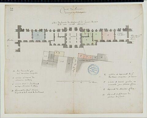 Plan de rez-de-chaussée des bâtiments de l'aile nord de la Cour Carrée du Louvre